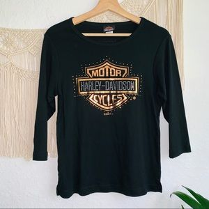 Harley-Davidson Embellished Rhinestone Shirt SizeM